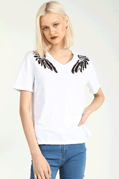 Collezione Beyaz V Yaka Pullu Omuz Detaylı Kısa Kollu Kadın Tshirt
