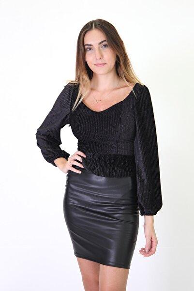 Essah Moda Kadın Siyah Suni Deri Mini Kalem Etek - Mek000036