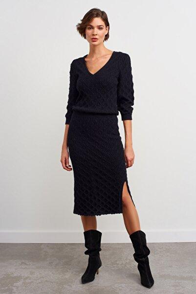 JOIN US V Yaka 3/4 Kol Desenli Triko Elbise-siyah