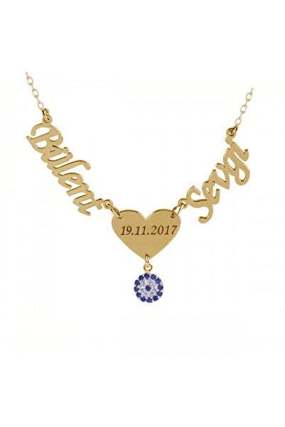 Gümüşhanesilver Iki Isimli Kalpli Nazar Boncuklu Gümüş Kolye Rose Gümüş Altın Kaplama