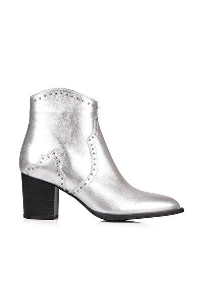 Oblavion Rice Hakiki Deri Gümüş Topuklu Çizme