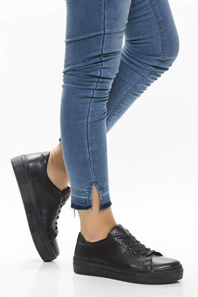 Deripabuc Hakiki Deri Siyah Siyah Kadın Deri Sneaker Trc-0686