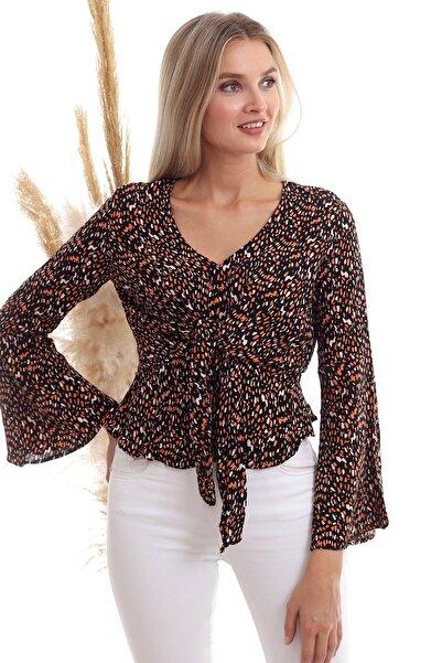 Cotton Mood 20333372 Dok.viskon Desenli Önü Bağlamalı Volanlı Bluz Sıyah Oranj