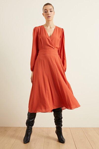 adL Kadın Tarçın Jakarlı Kruvaze Kloş Elbise 12437754002