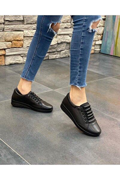 DİVA Siyah Deri Casual Günlük Ayakkabı 21sg005