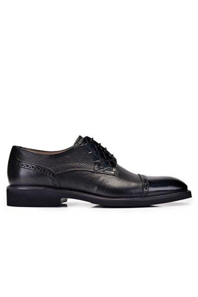 Nevzat Onay Hakiki Deri Siyah Günlük Bağcıklı Erkek Ayakkabı -11370-