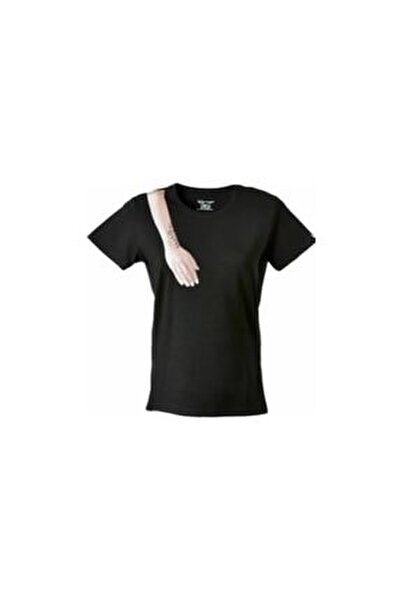 El Baskılı Tshirt Kısa Kollu Siyah Bisiklet Yaka