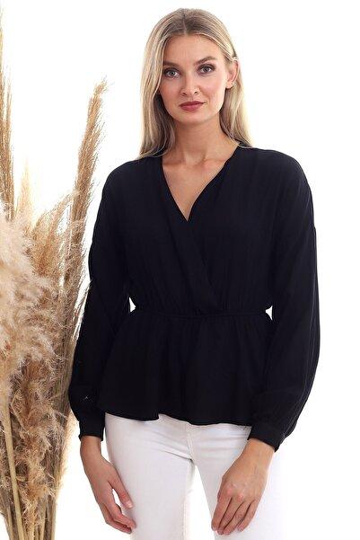 Cotton Mood 20333307 Dok.viskon Kruvaze Yaka Uzun Kol Bluz Sıyah