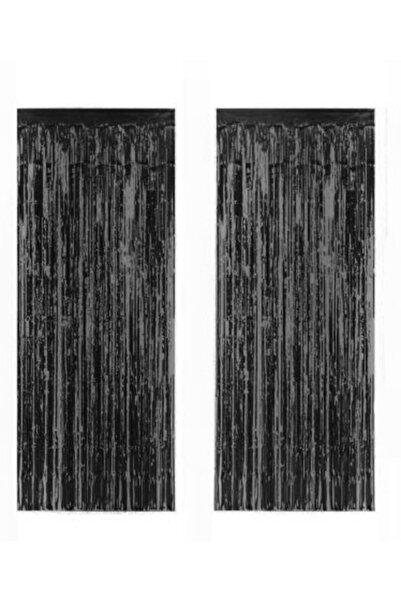 PartiVar Siyah Püsküllü Işıltılı Arka Fon Kapı Perdesi 90x240 Cm