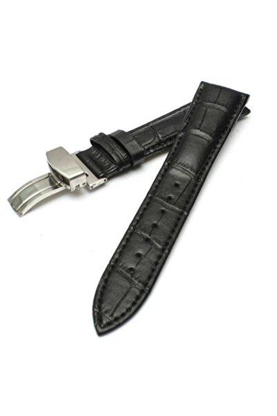 Seiko 20mm Saat Uyumlu Siyah Renk Çelik Klipsli Hakiki Deri Saat Kordonu Kayışı