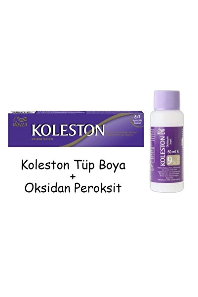 Koleston Tüp Boya 50 ml - 8.1 Açık Küllü Kumral + 30 Vol Oksidan Peroksit