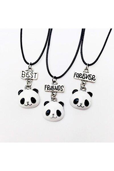 AlpCollection Sevimli Panda Best Friends Bff 3lü Suni Deri Ipli Kolye