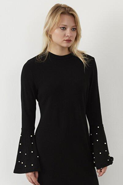 ELBİSENN Yeni Model Kadın Kolları Volanlı Inci Detay Kalem Elbise