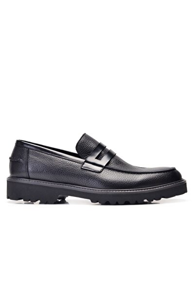 Nevzat Onay Hakiki Deri Siyah Günlük Loafer Erkek Ayakkabı -11928-