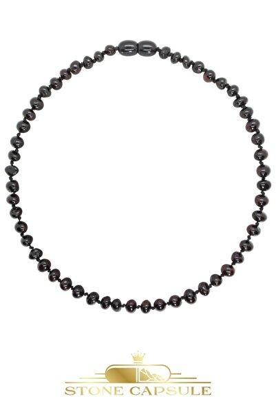 STONE CAPSULE Vişne (cherry) Renk Parlak Barok Kesim Baltık Kehribar Bebek Diş Kolyesi (33 Cm) (unisex)