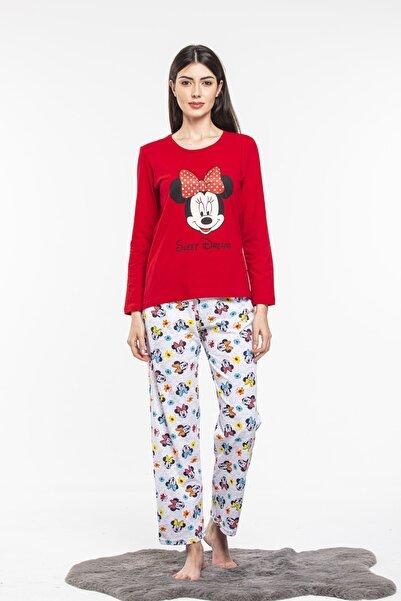 Ars Kadın Kırmızı Miki Desenli Uzun Kol Bisiklet Yaka Mevsimlik Trend Pijama Takımı