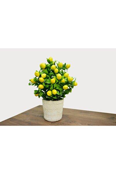 Hepsihizligidiyor Beyaz Porselen Saksıda Yapay Limon Ağacı