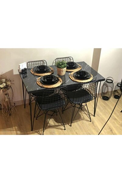 AVVİO Sera 4 Kişilik Yemek Masası Takımı-mutfak Masası Takımı-balkon Masa Takımı -siyah Mermer Desenli