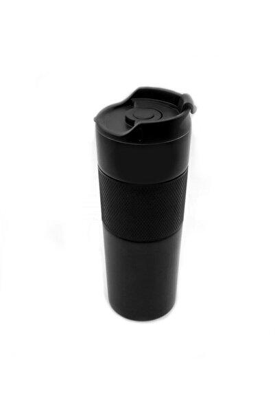 Lotus Lüx French Press Siyah Paslanmaz Çelik Termos Mug 500 ml (3 Fonksiyonlu)