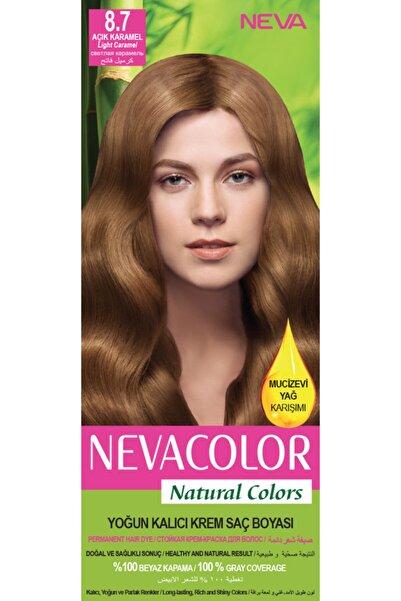 Neva Color Nevacolor Natural Colors 8.7 Açık Karamel - Kalıcı Krem Saç Boyası Seti