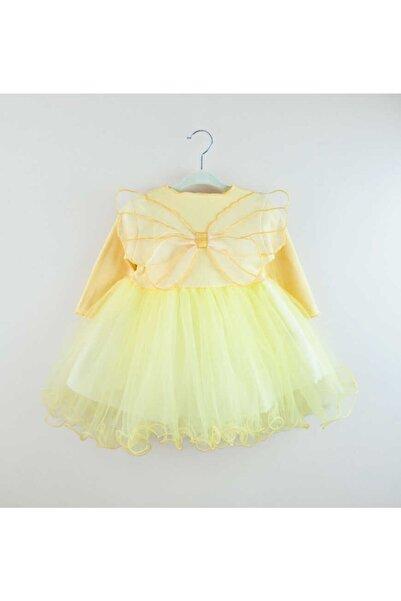 Le Mabelle Sarı Kelebekli Kız Çocuk Elbise - Papillo