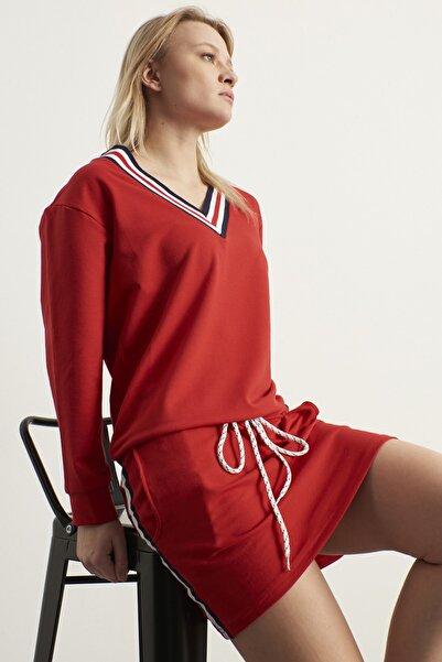 ELBİSENN Yeni Model Kadın V Yaka Biyeli Yeni Sezon Spor Elbise (Kırmızı)