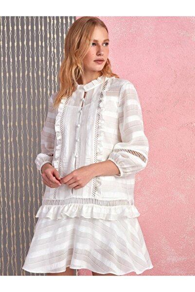 Nocturne Volanlı Brode Mini Elbise