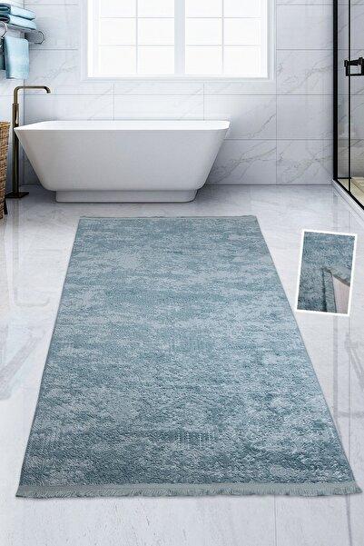 Bonny Home Nova Mavi 80x150 Cm Pamuk Kaymaz Taban Peluş Banyo Paspası Büyük Saçaklı Banyo Halısı