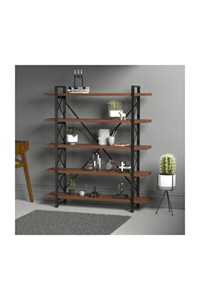 Evdemo Wood Metal Kitaplık Ceviz