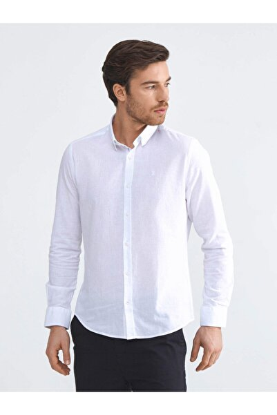 Xint Xınt Keten Basic Slim Fit Gömlek