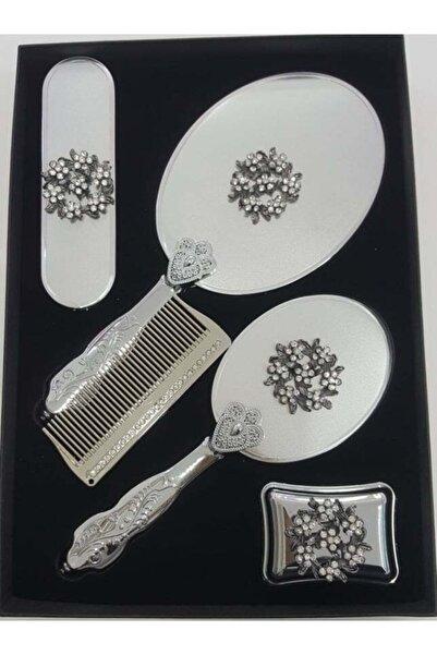 Ashley Gümüş Mat 5 Parça Ayna Tarak Seti Çeyiz Seti