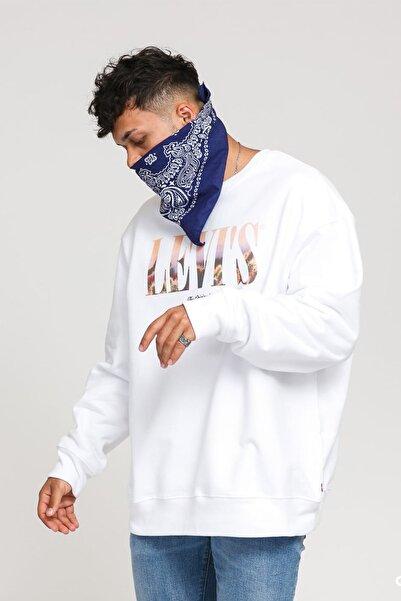 Levi's Erkek Loga Baskılı Beyaz Sweatshirt 38712-0000