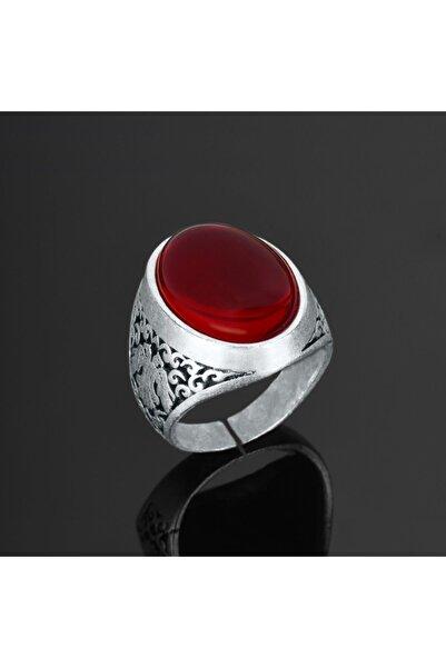 Apptakı Kırmızı Taşlı Erkek Yüzük - Yüz0128