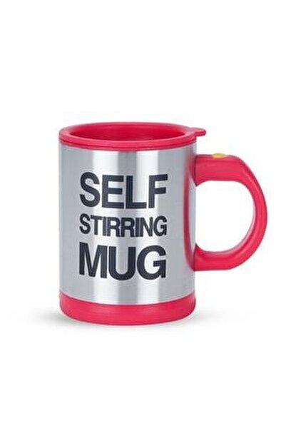 Kendi Kendini Karıştıran Mikser Kupa Termos Bardak; Self Stirring Mug - Kırmızı