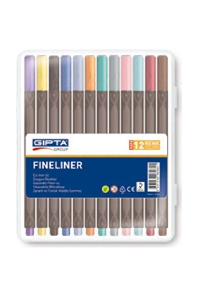 Gıpta Fineliner Keçe Uç Kalem 0.4 Mm Üçgen 12 Renk 4-k606000-5001