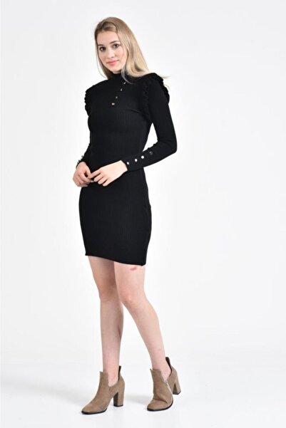Modkofoni Balıkçı Yaka Prenses Kol Ve Düğme Detaylı Siyah Triko Elbise