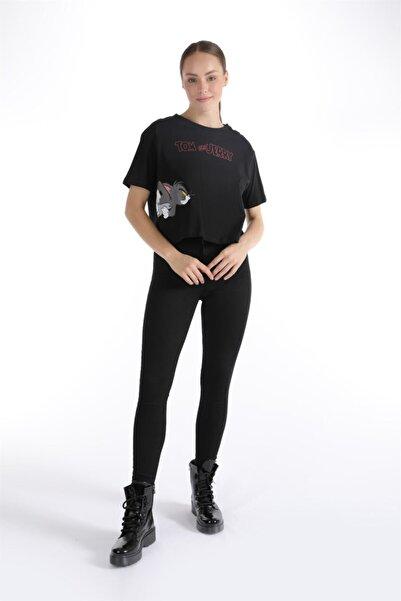 Oblavion Siyah Tom & Jerry Baskılı T-shirt