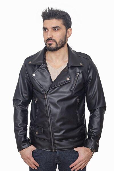 LİON KİNGS Erkek Siyah Deri Ceket