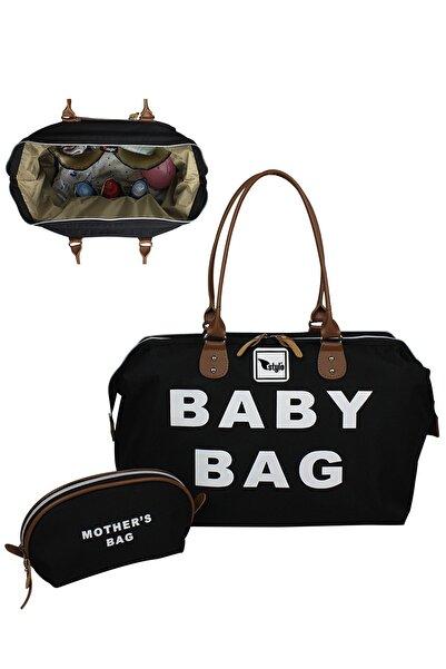 Stylo Baby Bag Anne Bebek Bakım Kadın Çantası-siyah