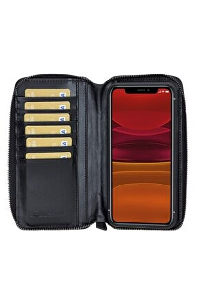 Mw Pouch Deri Telefon Kılıfı Iphone 11 Promax Rst1 Siyah Rfıd