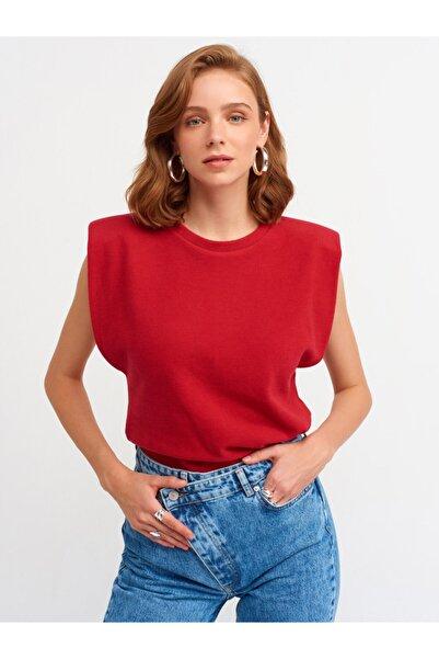 Dilvin 3606 Kolsuz Vatkalı T-shirt-kırmızı