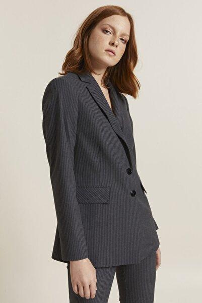 adL Kadın Antrasit Erkek Yaka Çizgili Ceket