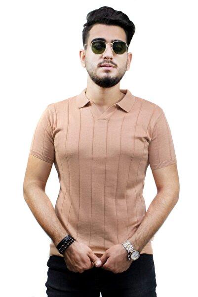 kulemoda Kalın Şeritli Açık Kiremit Renk Polo Yaka Triko Erkek Tshirt