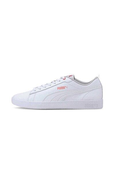 Puma Smash V2 Leather Kadın Spor Ayakkabısı-beyaz Somon Gri