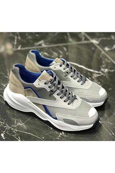 TETRİ Erkek Gri Beyaz Taban Günlük Deri Sneakers Ayakkabı