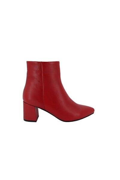 Hobby Kırmızı Hakiki Deri Kadın Topuklu Bot 001