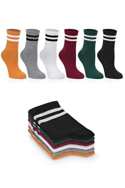SANUS Kadın 6'lı Karışık Renkli Çizgili Tenis Unisex Çorap 36-40 Numara