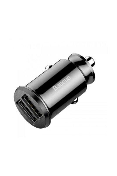 Baseus Grain Serisi Mini Araç Çakmaklık Şarjı 3.1a Çift Usb - Siyah