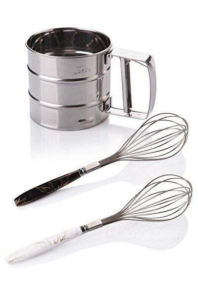 Queen's Kitchen Çelik Un Eleği Ve 2 Adet Lüx Çırpıcı