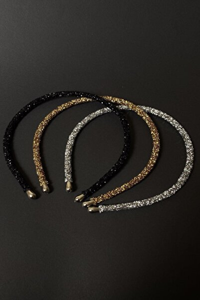 Bijuteri Online Siyah, Altın Ve Gümüş Renk Kristal Kadın 3'lü Işıltılı Günlük Kullanıma Uygun Taç Seti